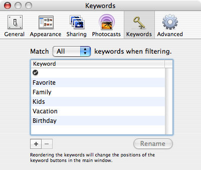 iPhoto Keywords Panel small