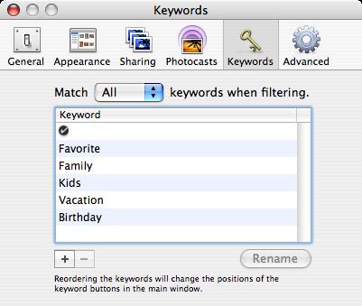 iPhoto Keywords Panel small